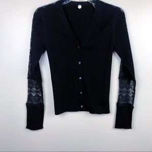 margaret o'leary small lace knit cardigan black